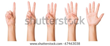 Set - woman hands making signs. Isolated on white background. - stock photo