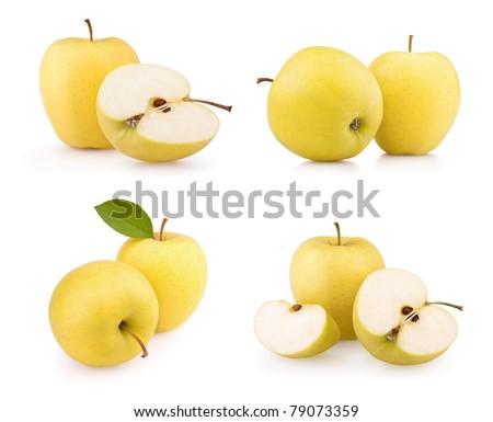 Set yellow apple fruits isolated on white background - stock photo