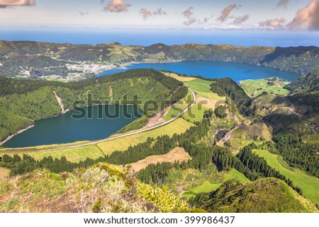 Sete Cidades Lagoa Ponta Delgada AZORES Sete Cidades is a civil parish in the centre of the municipality of Ponta Delgada, that is located in a massive volcanic crater three miles across. - stock photo