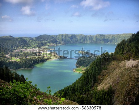 Sete Cidades lagoon, near Ponta Delgada, S. Miguel island Azores - stock photo