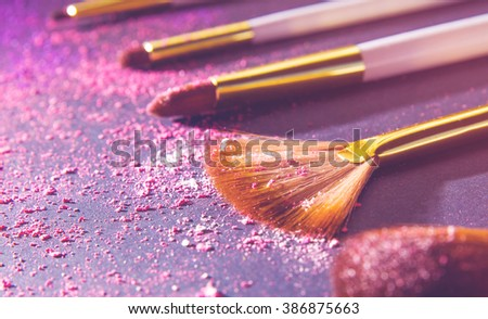 sets makeup brush for professional makeup artist - stock photo