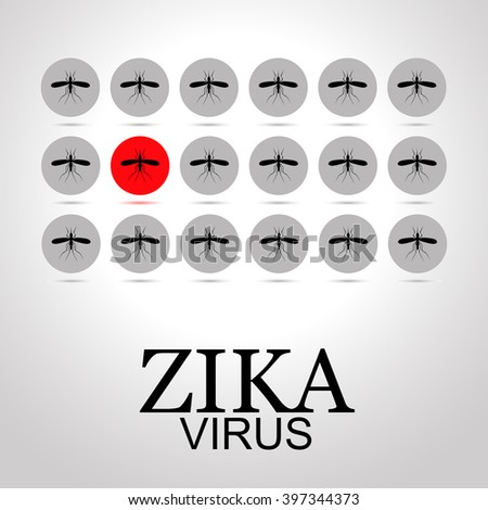 """sets mosquito image as icons. One icon with the image of a mosquito is red, indicating the Zika virus infection. illustration with text """"Zika virus"""" - stock photo"""