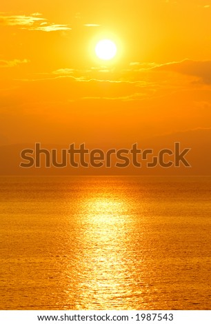 Setting sun - stock photo