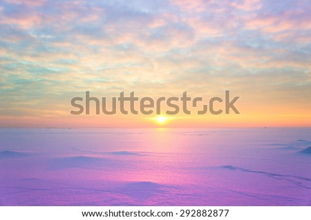 Setting Sun Desert Scene  - stock photo