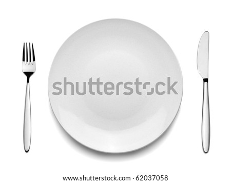 Setting with Plate, Knife & Fork (clipping path) - stock photo