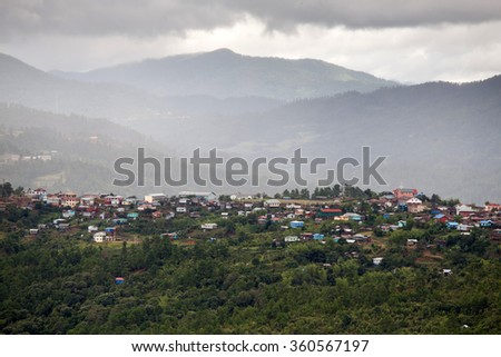 Settlement in The Chin State Mountains, Myanmar (Burma) - stock photo