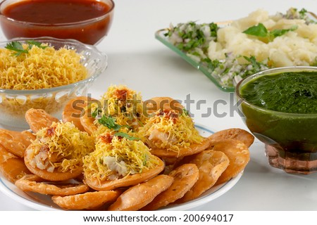 Sev Puri, Chat item, India - stock photo