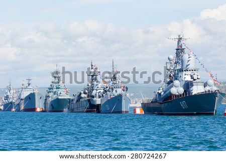 SEVASTOPOL, CRIMEA - MAY 9, 2015: Parade in honor of the 70th anniversary of Victory Day on 9 May 2015, in the bay of Sevastopol - stock photo