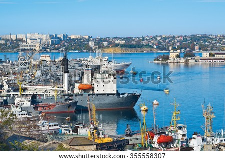 SEVASTOPOL, REPUBLIC of CRIMEA - OCTOBER 27, 2014. South bay - the second longest in Sevastopol, the perfect place for mooring - stock photo