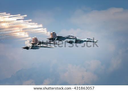 Sevastopol, Russia - June 5, 2016: Air show military aircraft. Falcons Russia. Aviadarts 2016 - stock photo