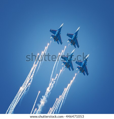 Sevastopol, Russia - June 5, 2016: Air show military aircraft. Russian Knights. Aviadarts 2016 - stock photo