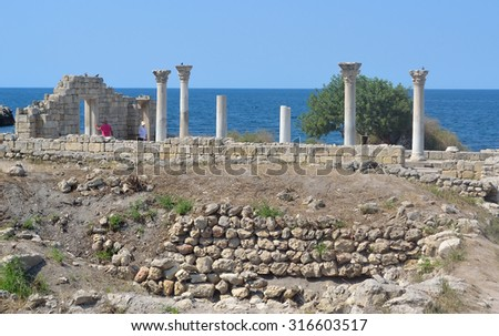SEVASTOPOL, RUSSIA - SEPTEMBER 01, 2015: Ancient Greek Chersonesus Taurica near Sevastopol in Crimea - stock photo
