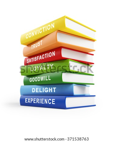 Seven books stacked  on top of each other. The books have yellow, red, blue and green covers with white text along their spines. isolated on white background. Clipping path is included. - stock photo