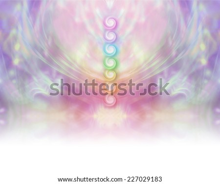 Seven Chakra Vortex Website Banner  -  Symmetrical pastel colored wispy misty background with vertical row of seven chakras place in center  - stock photo