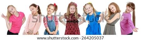 seven cheerful girls blondes on one photo, isolated on white background. - stock photo