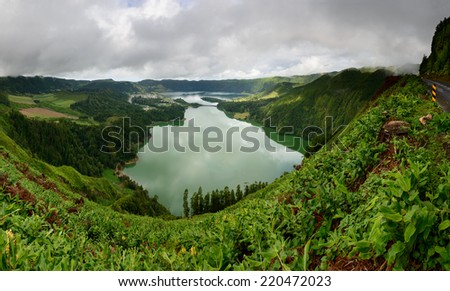 Seven Cities Lagoon in Sao Miguel Island. Panoramic done from 7 vertical photos. Azores are a holiday destinations in Portugal, and are located in the Atlantic Ocean between Europe and America.  - stock photo