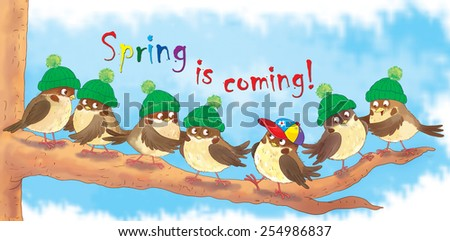 Seven cute birds sitting in a tree, wearing hats. One bird wears a colorful baseball hat ready for spring. Illustration for children. Poster  - stock photo