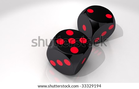 Seven, five and two - two black dice on white background - stock photo