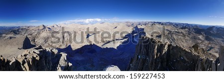 Seven Gables summit panorama looking north through east to south in the Sierra Nevada mountains - stock photo