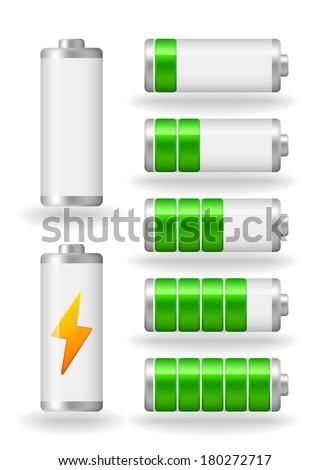 seven glossy battery fullness indicator with light shadow (raster version, available as vector too) - stock photo