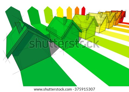 seven houses in seven energy classes in energy rating diagram - stock photo