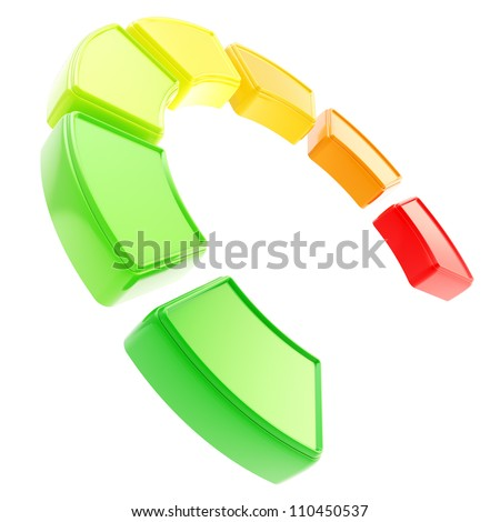 Seven levels of energy effieciency as dimensional segmented indicator curve isolated on white background - stock photo