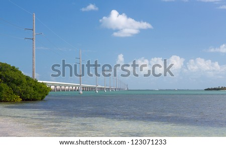 Seven Mile bridge and heritage trail in Florida Keys by Route 1 Overseas Highway - stock photo
