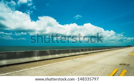 Seven mile bridge in the Florida Keys. - stock photo
