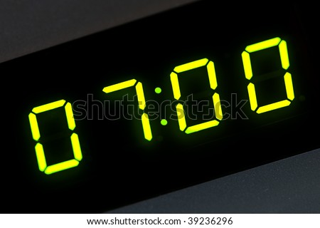 seven o'clock on digital display - stock photo