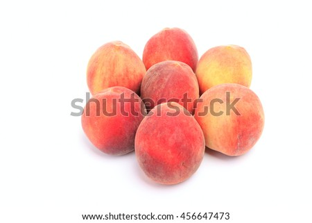 Seven peaches isolated on white background - stock photo