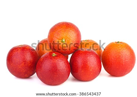 Seven red bloody oranges isolated on white background - stock photo