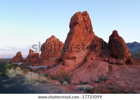 Seven Sisters at Valley of Fire State Park near Las Vegas Nevada - stock photo