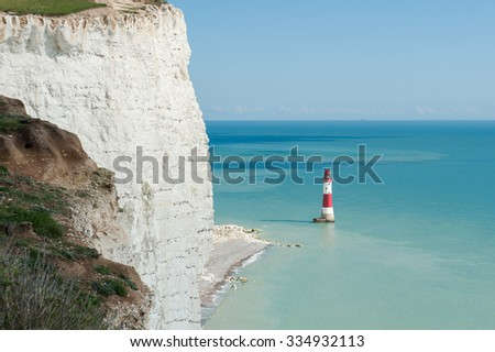 Seven Sisters National park, white cliffs, Beachy Head lighthouse, East Sussex, England - stock photo