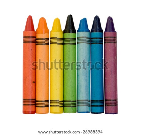 Seven used colored vax crayons form rainbow - stock photo