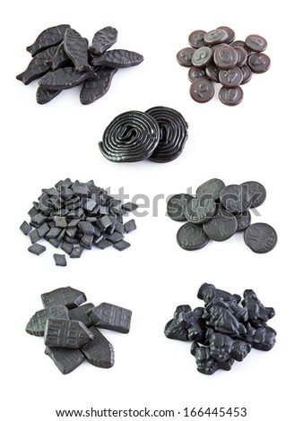 Seven variants licorice sweets on the white backgrounds - stock photo