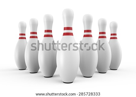 Seven white bowling pins - stock photo