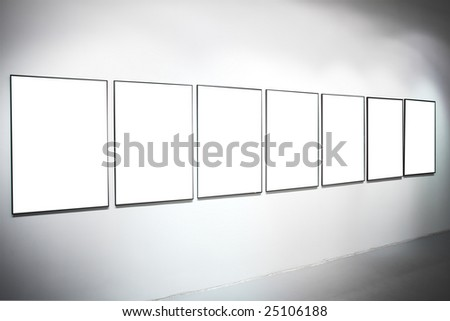 Seven white empty large banners on exposition - stock photo