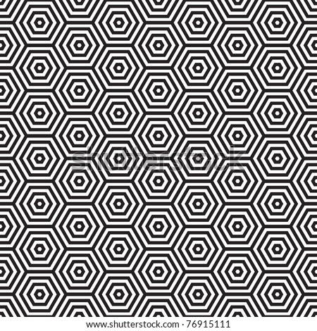 Seventies inspired hexagon seamless pattern background in black and white - stock photo