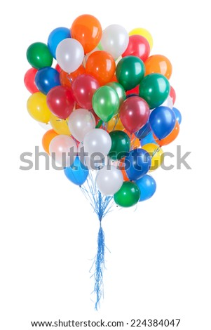 Seventy Balloons of Red, Orange,Blue, Yellow, Green and White Colors on the White Background - stock photo