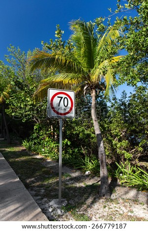 Seventy kilometers per hour speed limit on caribbean street road  - stock photo