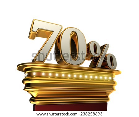Seventy percent figure on a golden platform with brilliant lights over white background - stock photo