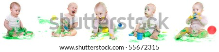 several babies painting over white - stock photo