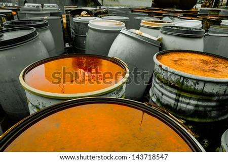 Several barrels - stock photo