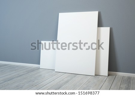 several blank picture in the room - stock photo