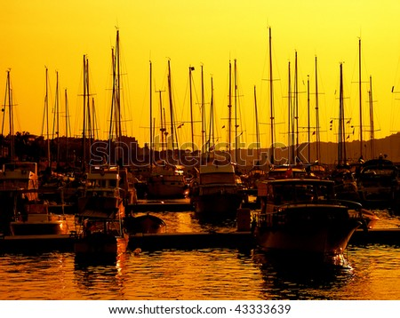 several boats in harbour from Ayvalik, Turkey - stock photo