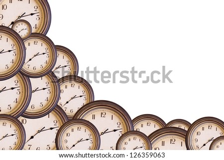 Several clocks isolated on white with space for your text - stock photo