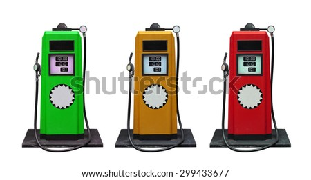 several color of old classic oil distributor in gas station service isolated on white use for retro and vintage style - stock photo