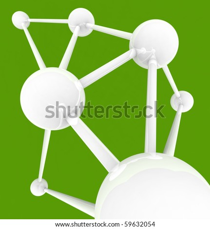 Several connected spheres with many links symbolizing intercommunication - stock photo