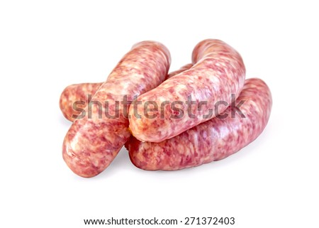 Several cooked pork sausages isolated on white background - stock photo