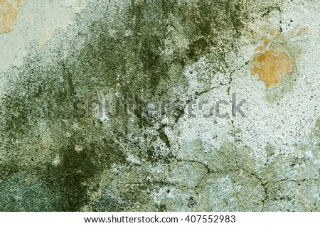 Several different green layers of plaster deposited on the wall. textural composition - stock photo